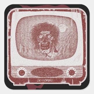 der Zombie! Auf TV~ Ziegelstein-Rot Quadratischer Aufkleber