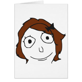 Derpina Brown Haar-Raserei-Gesicht Meme Grußkarten
