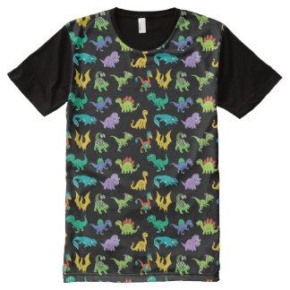 Derpy Dinosauriermuster T-Shirt Mit Komplett Bedruckbarer Vorderseite