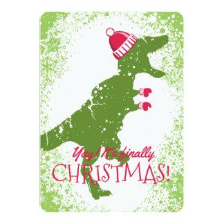 Derpy t-rex Dinosaurier Weihnachtshuthandschuhe 12,7 X 17,8 Cm Einladungskarte