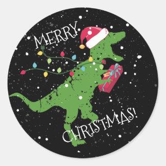 Derpy t-rex Dinosaurier Weihnachtslichter Runder Aufkleber
