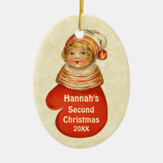 Des Babys individueller Name Vintages W1383A an Ovales Keramik Ornament