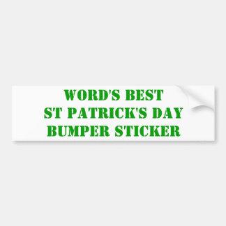 Des besten St Patrick der Welt Tag Autoaufkleber