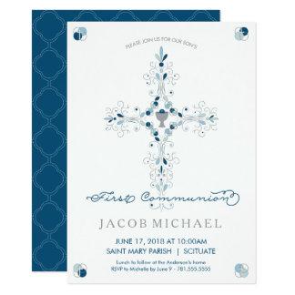 Des ersten heilige Kommunions-Einladungs-Jungen 11,4 X 15,9 Cm Einladungskarte