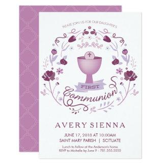 Des ersten heilige Kommunions-Einladungs-Mädchens 8,9 X 12,7 Cm Einladungskarte