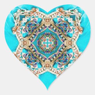Des ethnischen blauer Böhme Türkis-Aqua des Herz-Aufkleber