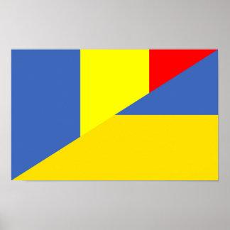 des Flaggen-Landes Rumäniens Ukraine halbes Symbol Poster