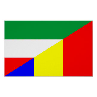 des Flaggen-Landes Rumäniens Ungarn halbes Symbol Poster