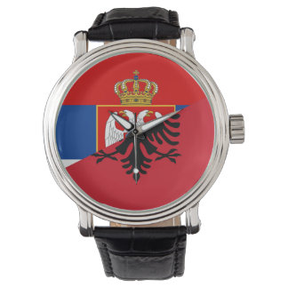 des Flaggen-Landes Serbiens Albanien halbes Symbol Uhr
