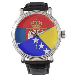 des Flaggen-Landes Serbiens Bosnien-Herzegowina Armbanduhr