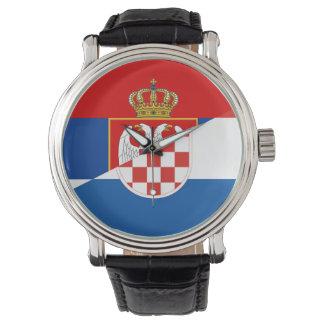 des Flaggen-Landes Serbiens Kroatien halbes Symbol Armbanduhr