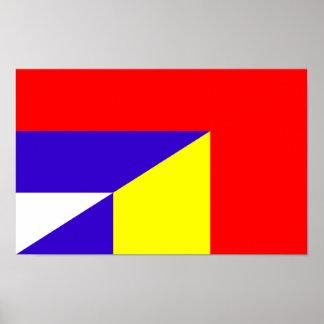 des Flaggen-Landes Serbiens Rumänien halbes Symbol Poster