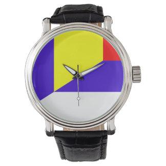 des Flaggen-Landes Serbiens Rumänien halbes Symbol Uhr