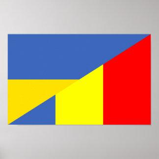 des Flaggen-Landes Ukraine Rumänien halbes Symbol Poster