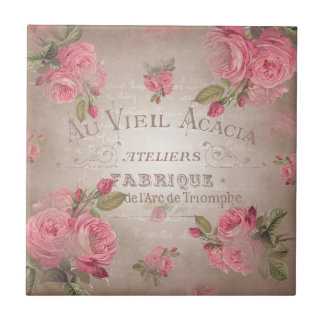 Des französischen Vintagen BlumenRose Rosen-Rosas Keramikfliese