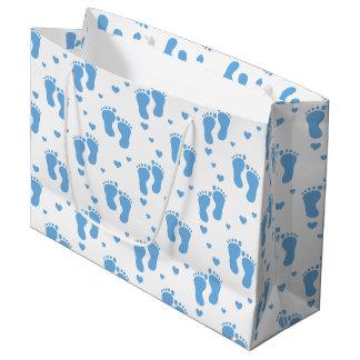 Des Fußmusters des blauen Babys große Große Geschenktüte