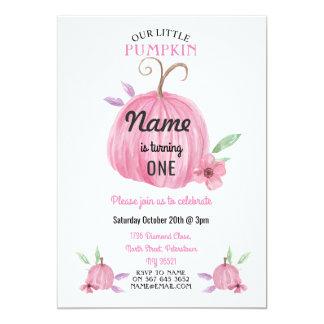 Des Geburtstags-Kürbis-Blumen-Rosa-Mädchens laden Karte