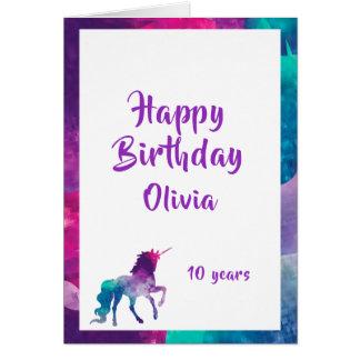 Des girly lila 10. Geburtstag Fantasie-Rosas des Karte