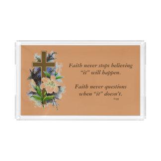 Des Glauben-Blumen-Kreuz nie Acryl Tablett