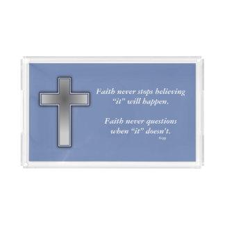 Des Glauben-Kreuz nie Eitelkeits-Behälter-w/Blue Acryl Tablett