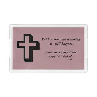 Des Glauben-Kreuz nie Eitelkeits-Behälter-w/Shadow Acryl Tablett