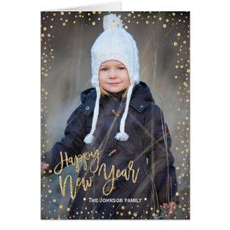 Des glücklichen neuen Jahr-| Foto-Karte Golddes Karte