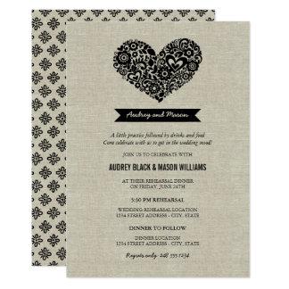 Des Hochzeits-Proben-und Abendessen-| schwarzes 12,7 X 17,8 Cm Einladungskarte