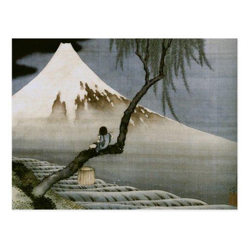 Des Hokusai Jungen-und Fujisans Vintager Japaner Postkarte