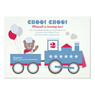 Des Jungen Vintager Zug der Geburtstags-der Party 12,7 X 17,8 Cm Einladungskarte