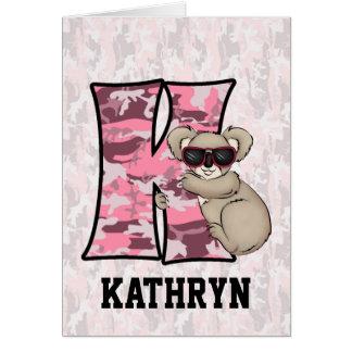 """Des Kindes rosa Karten der Koala-des Monogramm-""""K"""""""