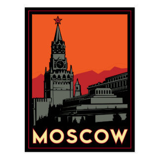 des Kunst-Dekos Moskaus Russland der Kreml retro Postkarte