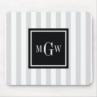 Des lt-graues Weiß Monogramm Streifen-schwarzen Mousepads