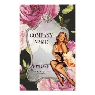 des Make-upkünstlers der Rose girly retro Mode Personalisierte Flyer
