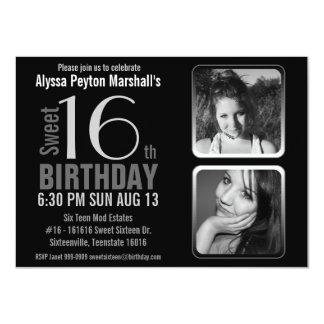 Des Mod-2 Geburtstag Foto-Schwarzweiss-des Bonbon- Personalisierte Einladungskarte