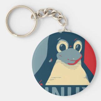 Des Pinguinplakat-Kopfes Linuxs Tux rotes Blau Schlüsselanhänger