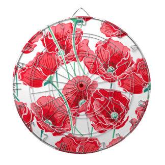 Des roten Blumenmuster Mohnblumen-Feldes der Dartscheibe