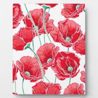 Des roten Blumenmuster Mohnblumen-Feldes der Fotoplatte