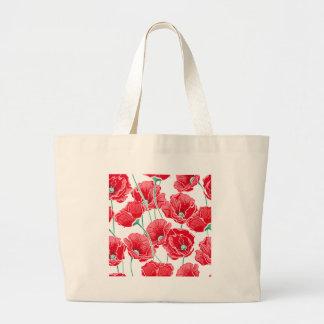 Des roten Blumenmuster Mohnblumen-Feldes der Jumbo Stoffbeutel