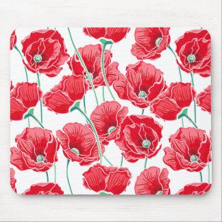 Des roten Blumenmuster Mohnblumen-Feldes der Mauspads