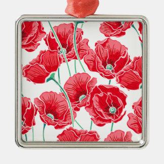 Des roten Blumenmuster Mohnblumen-Feldes der Quadratisches Silberfarbenes Ornament