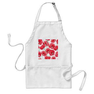 Des roten Blumenmuster Mohnblumen-Feldes der Schürze