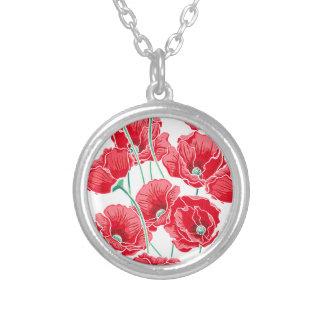 Des roten Blumenmuster Mohnblumen-Feldes der Versilberte Kette