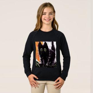 Des schwarze Katzen-Kindes Halloweens das Sweatshirt
