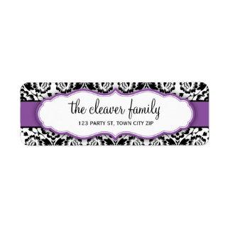 Des stilvollen violettes Lila Damastschwarzen der Rücksendeetiketten