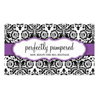 Des stilvollen violettes Lila Damastschwarzen DER Visitenkarten