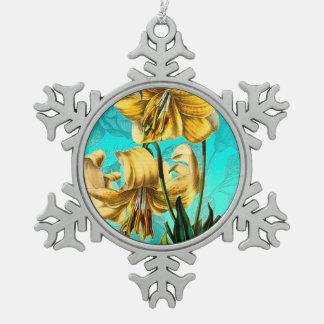 Des Tigers Blau lilly Schneeflocken Zinn-Ornament