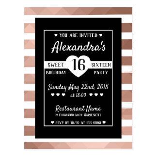 Des trendy rosa elegantes Party Goldschwarzen 16. Postkarte