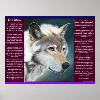 Desiderata durch maximale Ehrmann weißer Wolf Poster