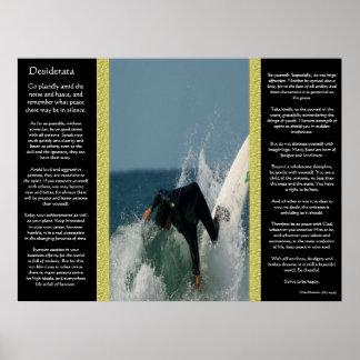 Desiderata-fallende Surfer-Plakate Poster