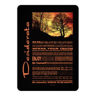 Desiderata-Gedicht-Abends-Sonnenuntergang-Baum Personalisierte Ankündigungskarten